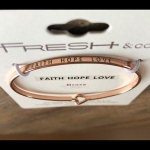 Rose Gold Tone Faith-Love-Hope bracelet